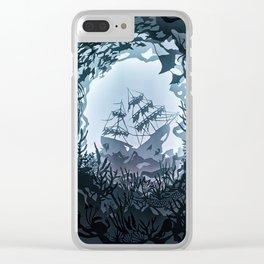Underwater Shiwreck Papercut Clear iPhone Case