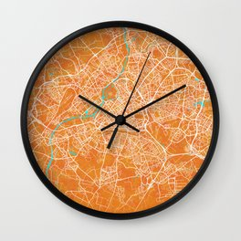 Lille, France, Gold, Blue, City, Map Wall Clock