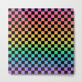 Rainbow and Black Checkerboard Metal Print