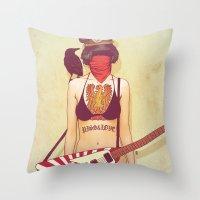 punk rock Throw Pillows featuring Punk Rock Raven by FlushDelay