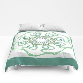 Hope Flower Mandala - Green White Framed Comforters