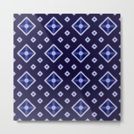 Blue Diamond Pattern Metal Print