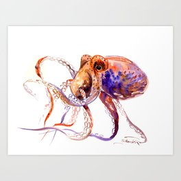 Octopus, orange purple aquatic animal design Art Print