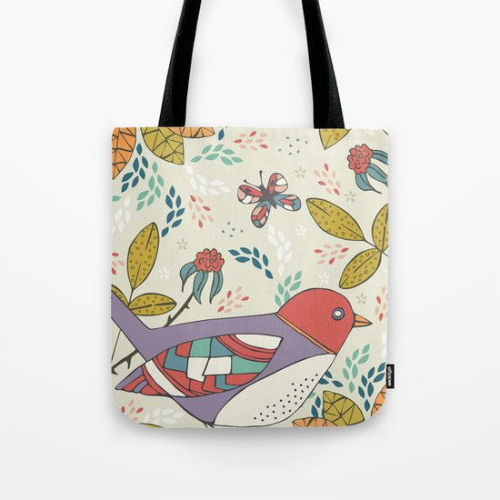 Bird and Butterfly  Tote Bag