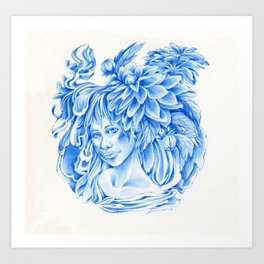 Blue Elf with flowers Art Print