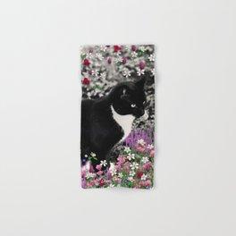 Freckles in Flowers II - Tuxedo Kitty Cat Hand & Bath Towel
