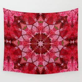 Red autumn leaves kaleidoscope - Cranberrybush Viburnum Wall Tapestry