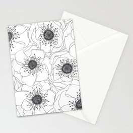 White Anemones Stationery Cards
