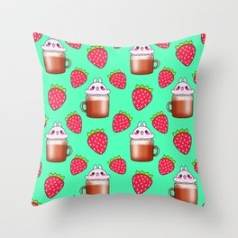 Cute little happy funny pink little baby bunnies sitting in cappuccino coffee cups, yummy red ripe sweet summer strawberries pretty pastel green fruity pattern design. Throw Pillow