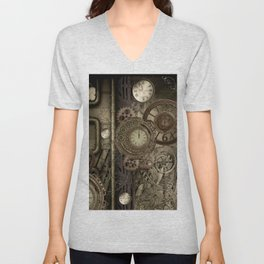 Steampunk, clocks and gears Unisex V-Neck