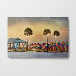 Windbreaks on Pier 60 in Clearwater Metal Print
