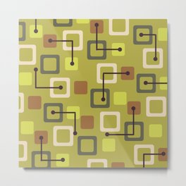 Midcentury 1950s Tiles & Squares Chartreuse Metal Print