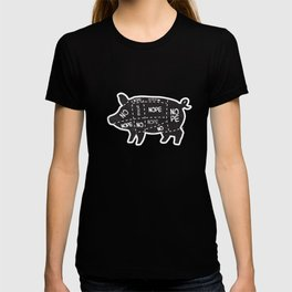 alternative pig meat cut chart vegan and vegetarian T-shirt