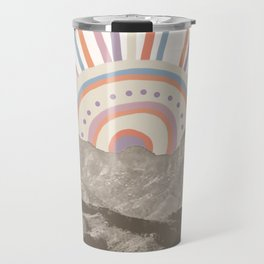 Bohemian Tribal Sun UP / Abstract Vintage Mountain Happy Summer Vibes Retro Colorful Pastel Artwork Travel Mug