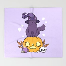 Pumpkin Cat Throw Blanket