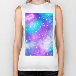 Modern nebula ultra violet watercolor hand painted white constellation stars universe small pattern Biker Tank