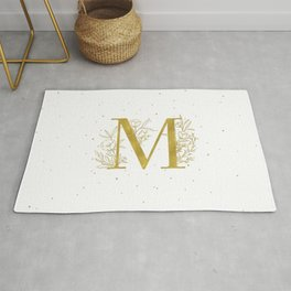 Letter M Gold Monogram / Initial Botanical Illustration Rug