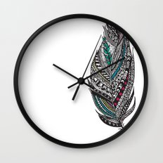 Single Aztec Feather  Wall Clock