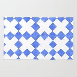 Modern blue  white watercolor crosses geometric pattern Rug
