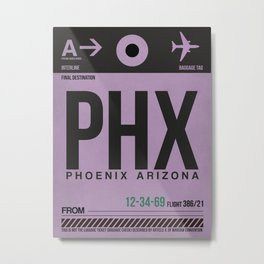 PHX Phoenix Luggage Tag 1 Metal Print