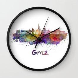Graz skyline in watercolor Wall Clock