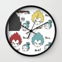 vegeta Wall Clocks featuring Primary Colors with Vegeta by AlyTheKitten