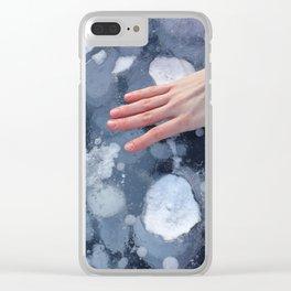 Woman hand on Baikal ice texture. Clear iPhone Case