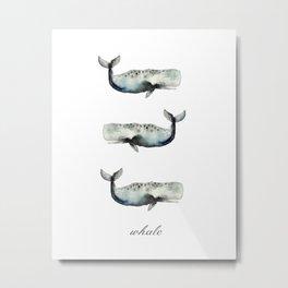 whale- watercolor Metal Print