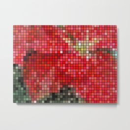 Mottled Red Poinsettia 1 Ephemeral Mosaic Metal Print