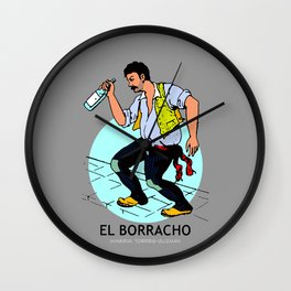 El Borracho Mexican Loteria Card Wall Clock