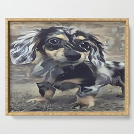 Long Haired Dachshund Serving Tray