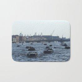Huge water traffic on Neva River. Many passenger boats. Bath Mat