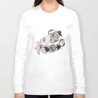 pitbull Long Sleeve T-shirts featuring Majestic Pitbull by Carrillo Art Studio