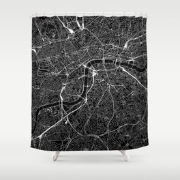 London Black Map Shower Curtain