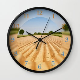 Ploughed agriculture field empty Wall Clock
