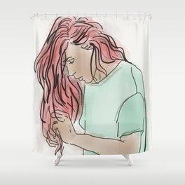 Pink Hair, Green Shirt Shower Curtain