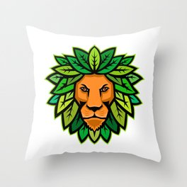 Lion With Leaves As Mane Mascot Throw Pillow