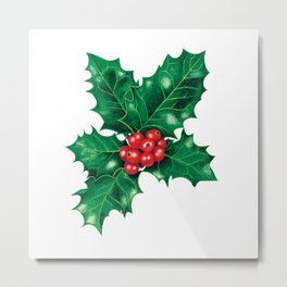 Holly leaves and berries Metal Print
