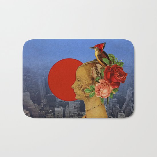 woman with birds and flowers hat Bath Mat