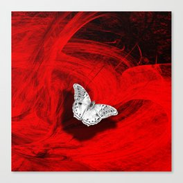 Silver butterfly emerging from the red depths Canvas Print