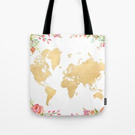 Bohemian world map with watercolor flowers Tote Bag