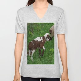 Cute Brown and White Lamb with Ewe  Unisex V-Neck