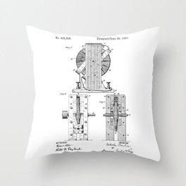 Nikola Tesla Electro Magnetic Motor Patent Art Throw Pillow