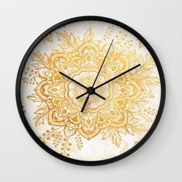 Queen Starring of Mandala-Gold Sunflower I Wall Clock