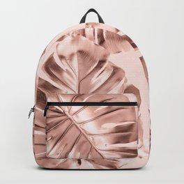 Rose Gold Monstera Leaves on Blush Pink Backpack