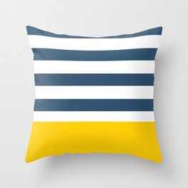 Navy and yellow stripes Throw Pillow