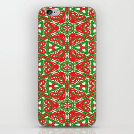 Red, Green and White Kaleidoscope 3375 iPhone Skin