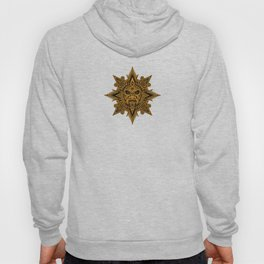 Ancient Yellow and Black Aztec Sun Mask Hoody