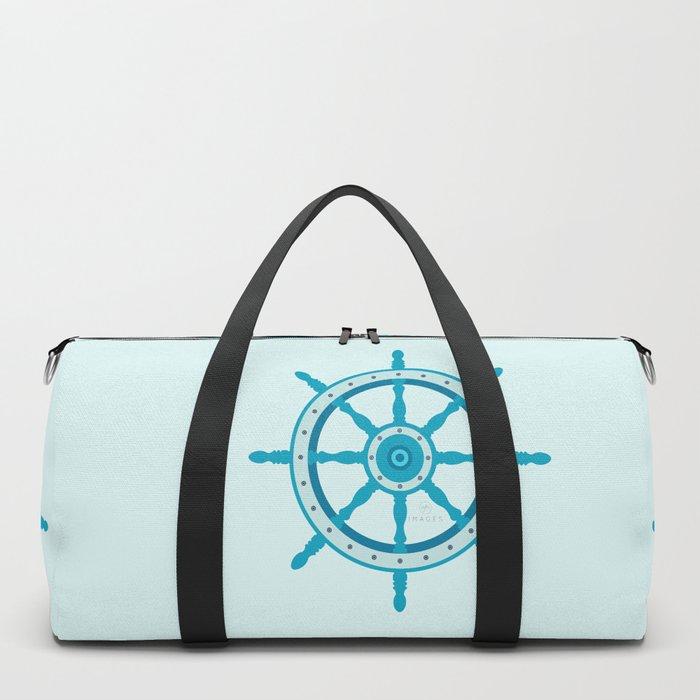 AFE Ship Wheel Teal, Nautical Art Print Duffle Bag