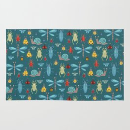 Little Bugs and Mini Beasts on Teal Rug